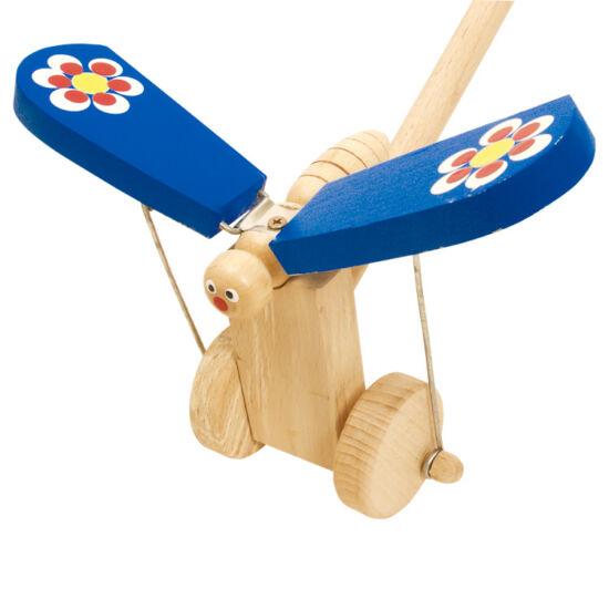Csattogó szárnyú kék pillangó tologatós játék