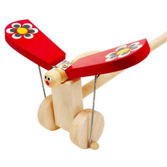 Csattogó szárnyú piros pillangó tologatós játék