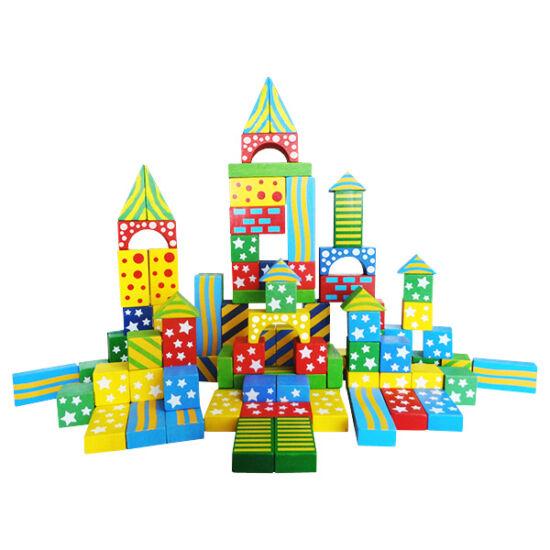 Építőkocka - 100 db-os, színes, mintás